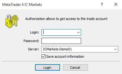 Điền thông tin đăng nhập phần mềm MT4